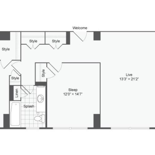 2 Bedroom Floor Plan | Baltimore Apartments Near Johns Hopkins | The Social North Charles