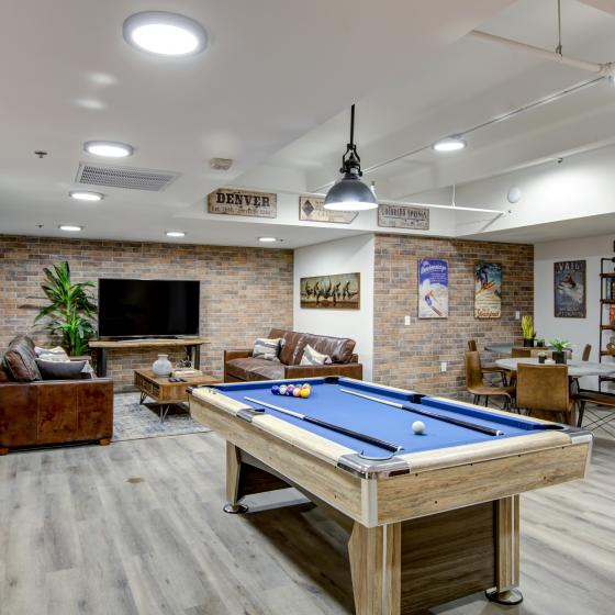 Clubhouse with game tables and TV lounge