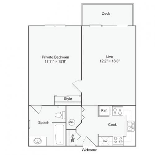 1 Bedroom Floor Plan | The Social West Ames Apartment Homes for Rent in Ames IA 50014