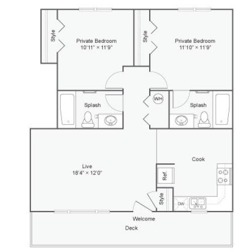 2 Bedroom Floor Plan | The Social West Ames Apartment Homes for Rent in Ames IA 50014