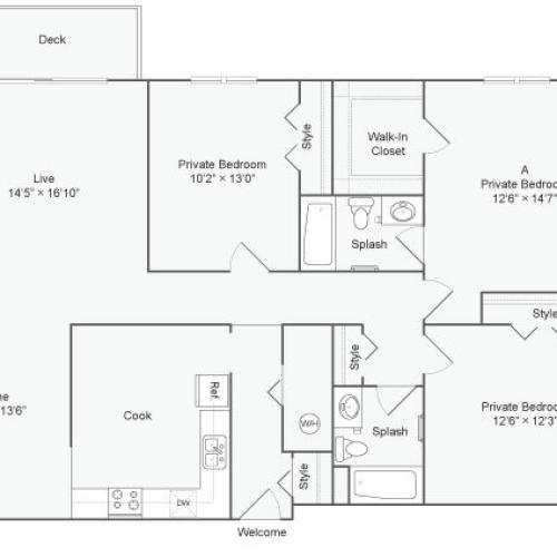 3 Bedroom Floor Plan | The Social West Ames Apartment Homes for Rent in Ames IA 50014
