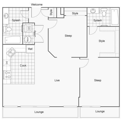 2 Bedroom Floor Plan | Wichita Kansas Apartments | ReNew Wichita