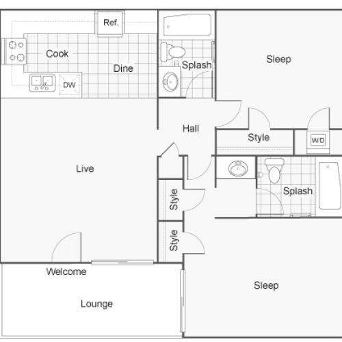 Floor Plan | ReNew Riverside Apartment Homes for Rent in Riverside CA 92503