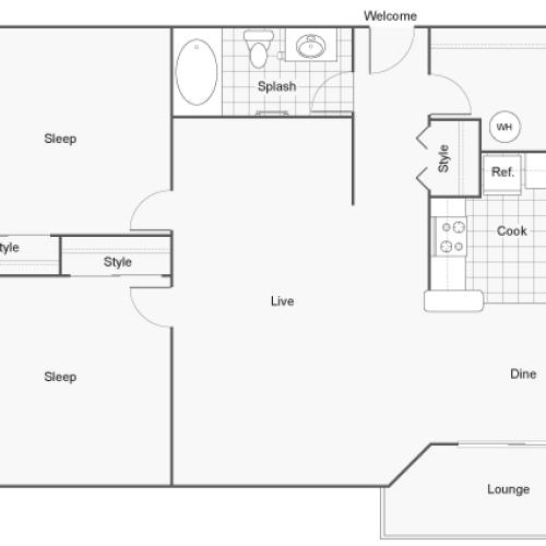 Floor Plan | The Social at Stadium Walk Apartment Homes for Rent in Ft Collins CO 80521