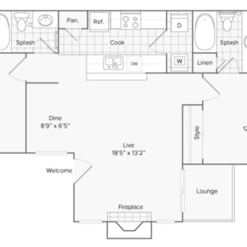 Floor Plan Layout | ReNew North Park Apartment Homes for Rent in Midland TX 79707