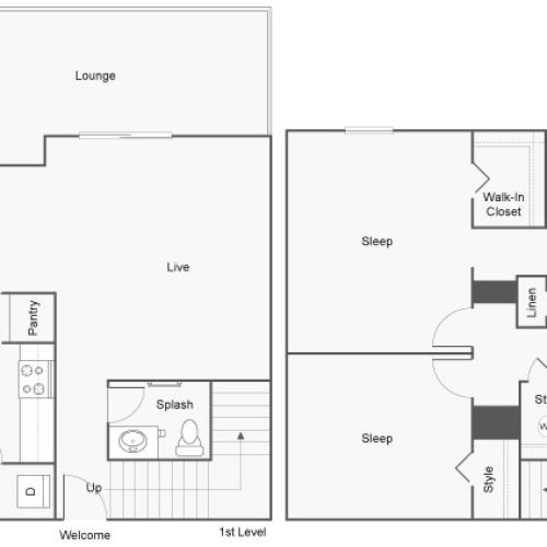 Floor Plan Layout | ReNew Highland Park Apartment Homes for Rent in Midland TX 79705
