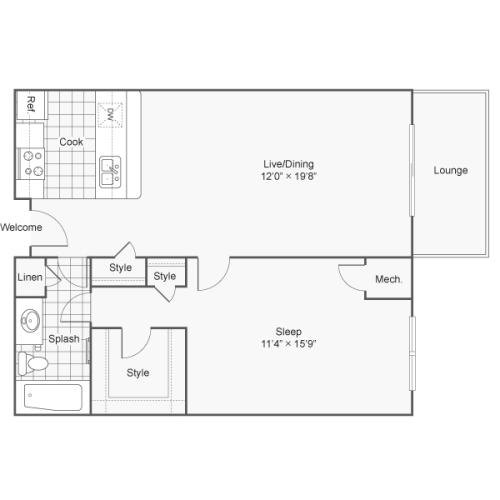 1 Bdrm Floor Plan | One Bedroom Apartments In Alexandria VA | Arrive Alexandria