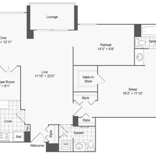 Floor Plan 1 | Luxury Apartments In Alexandria VA | Arrive 2801