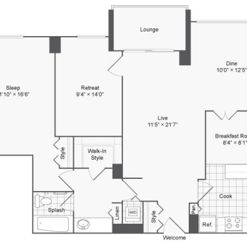 2 Bedroom Floor Plan | Luxury Apartments For Rent In Alexandria VA | Arrive 2801