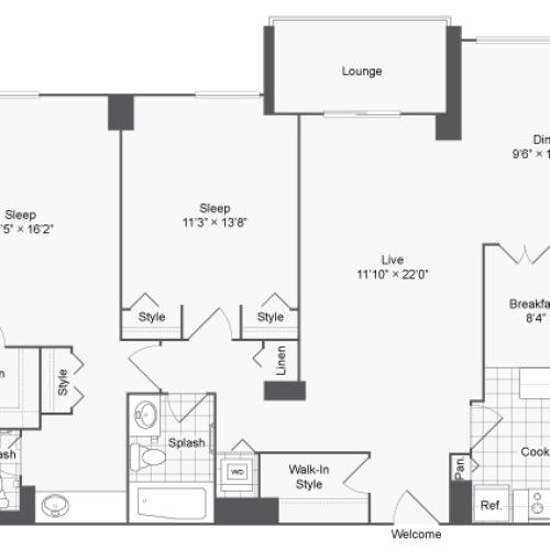 Floor Plan 2 | 2 Bedroom Apartments In Alexandria VA | Arrive 2801