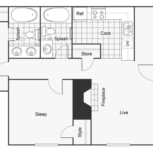 Floor Plan Layout | ReNew Fairmont Park Apartment Homes for Rent in Midland TX 79707