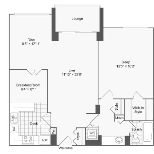 1 Bedroom Floor Plan | Luxury Apartments In Alexandria VA | Arrive 2801