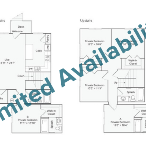5 Bedroom Floor Plan | The Social West Ames Apartment Homes for Rent in Ames IA 50014