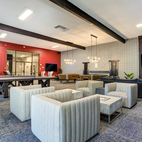 Clubhouse game tables and tv lounge