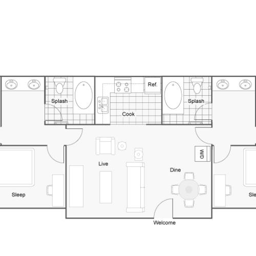 Floor Plan | Mississippi State University Apartments Starkville | The Social Block
