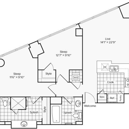 Arrive University City Apartment Homes for Rent in Philadelphia PA 19104 Floor Plan