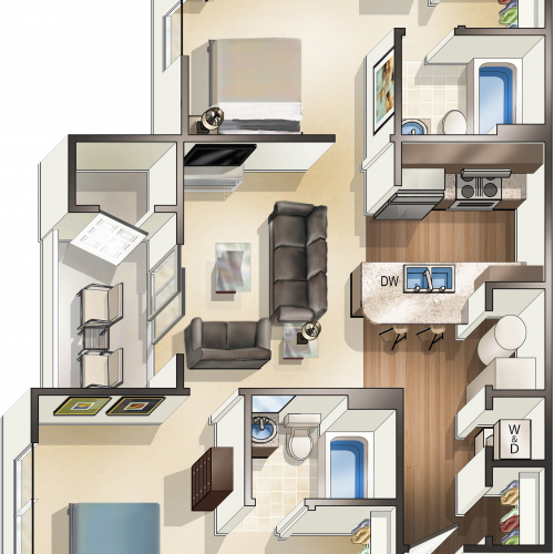 2 Bedroom Floor Plan | MSU Off Campus Apartments | The Social Campus