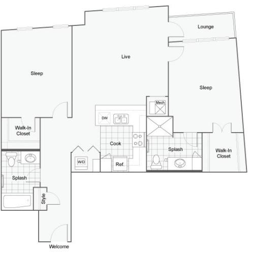Floor Plan Image | 1910 on Water Apartment Homes for Rent in Milwaukee WI 53202