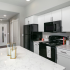 Kitchen with black appliances and white cabinets