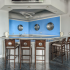 Clubhouse kitchen with barstool seating