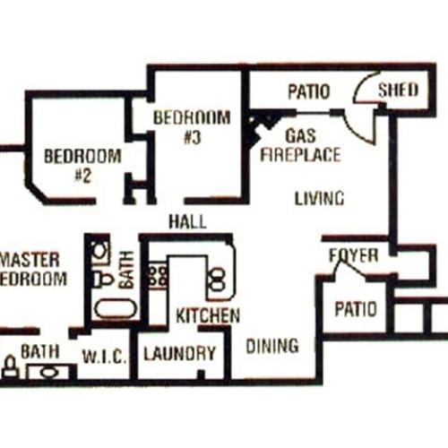 3 Bedroom, 2 Bath