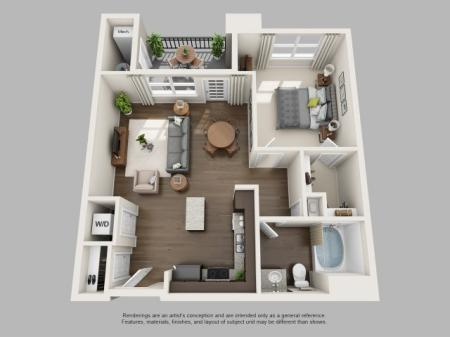 1 Bedroom Floor Plan | Infinity at Centerville Crossing