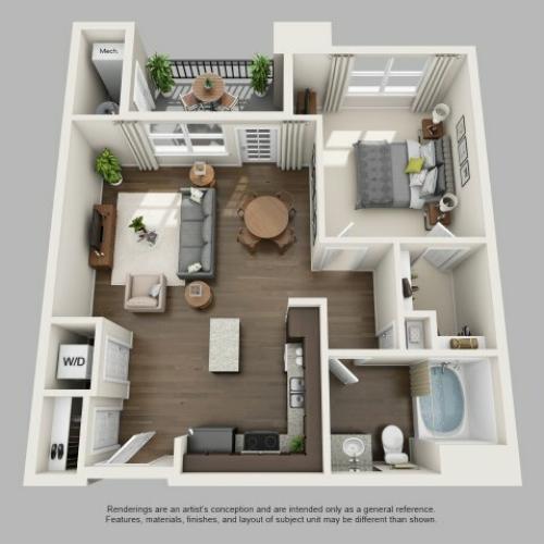 1 Bedroom Floor Plan | Infinity at Centerville Crossing