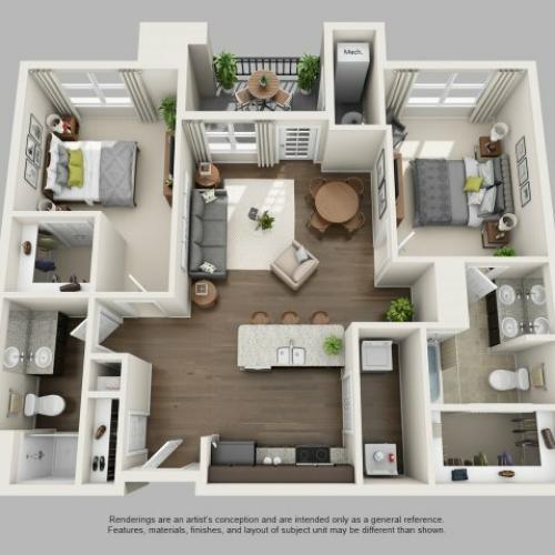 2 Bedroom Floor Plan | Infinity at Centerville Crossing