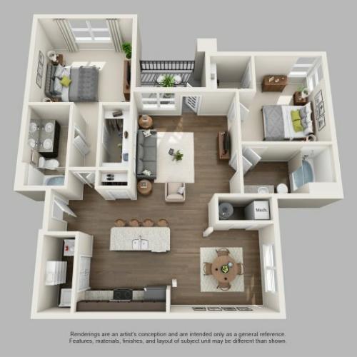 2 Bedroom Floor Plan | Infinity at Centerville Crossing2