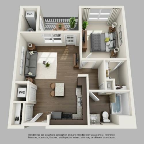 1 Bedroom Floor Plan | Infinity at Centerville Crossing2