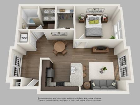 1 Bedroom Floor Plan | Infinity at Centerville Crossing3