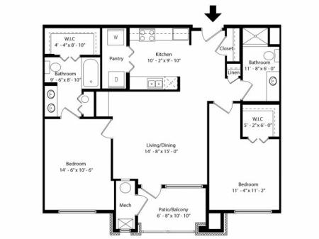 2 Bedroom Floor Plan | Infinity at Centerville Crossing