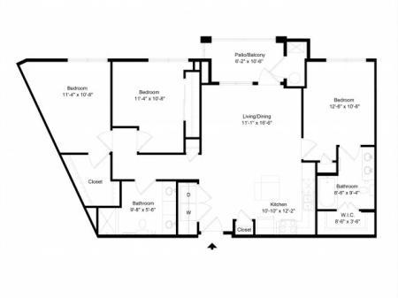 Three bedroom, two bathroom apartment for rent Hampton, VA
