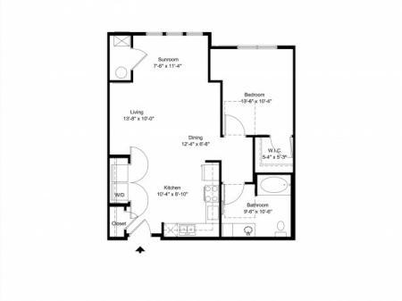 One bedroom, one bathroom apartment for rent Hampton, VA