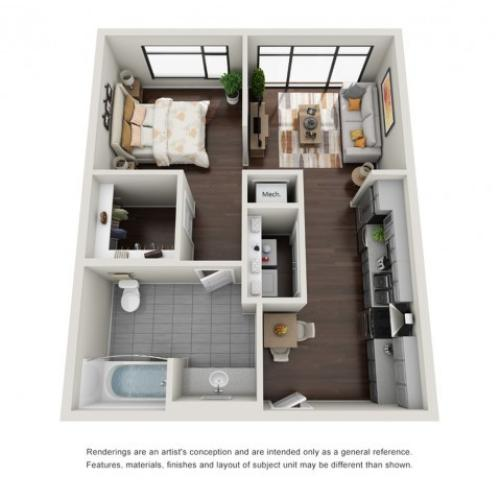 Studio Floor Plan | The Edge at 450