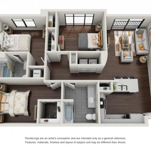 3 Bedroom Floor Plan | The Edge at 450