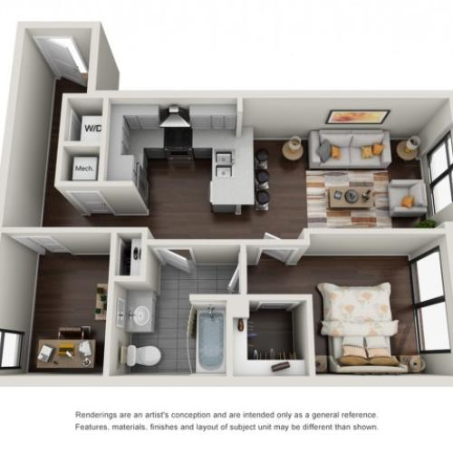 1 Bedroom Den Floor Plan | The Edge at 450
