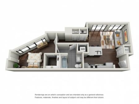 1 Bedroom Floor Plan | The Edge at 450