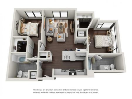 2 Bedroom with Loft Floor Plan | The Edge at 450