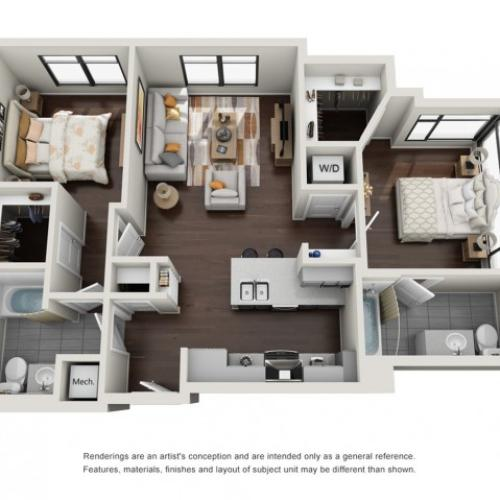2 Bedroom Floor Plan | The Edge at 450