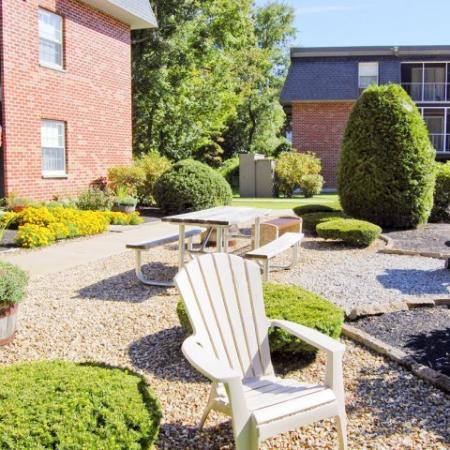 Community outdoor space with picnic table
