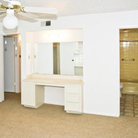 Built-in vanity in master bedroom | Royal Crest apartments