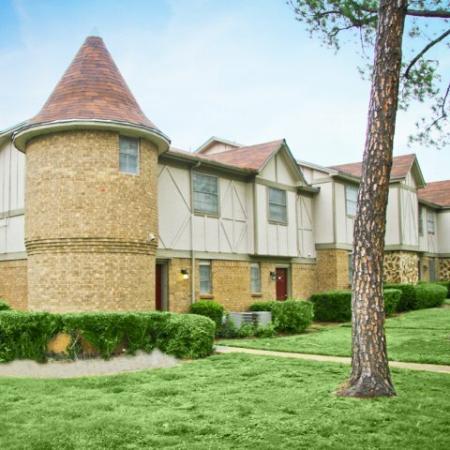 Tudor style exterior of Royal Crest apartments   Tyler TX