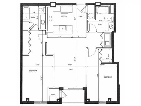 Two Bedroom Two Bath 2D
