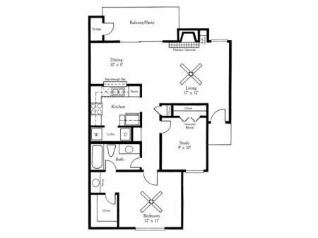 2x1B Floorplan
