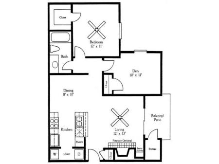1x1B Floorplan w/Den