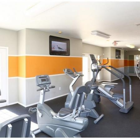 Fitness center at Cypress Gardens apartments