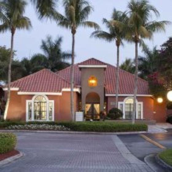 Village Place, exterior, main entrance, street, palm trees