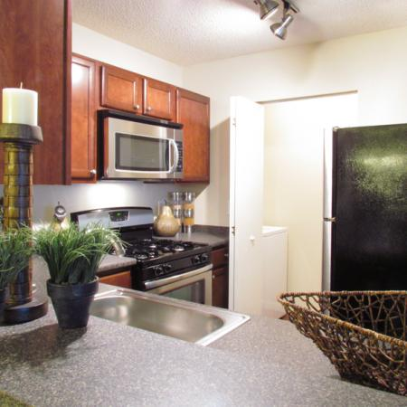 Pavilions renovated apartment | Stainless steel appliances including microwave