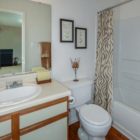 Bathroom with wood flooring and shower bathtub combo